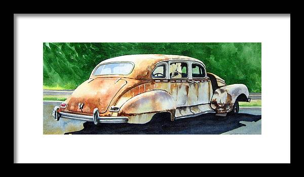 Hudson Car Rust Restore Framed Print featuring the painting Hudson Waiting For a New Start by Ron Morrison