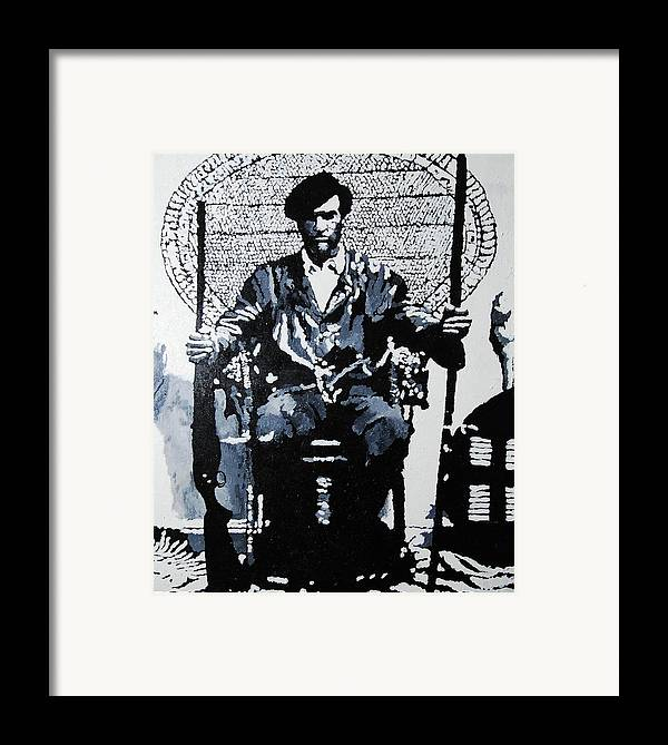 Black Panther Framed Print featuring the painting Huey Newton Minister Of Defense Black Panther Party by Lauren Luna