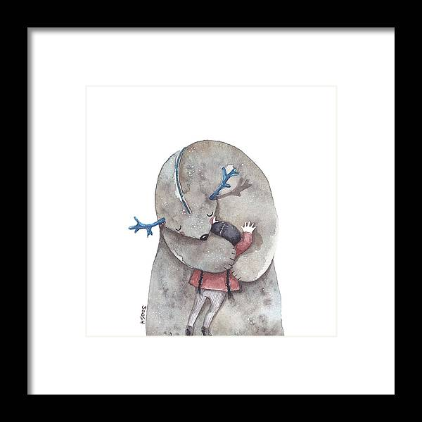 Art Framed Print featuring the painting Hug Me by Soosh