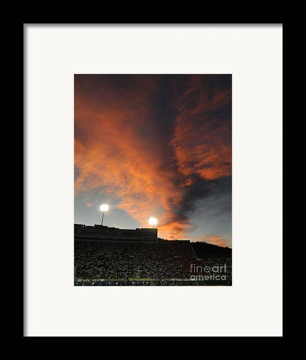Fort Collins Framed Print featuring the photograph Hughes Stadium Sunset by Sara Mayer
