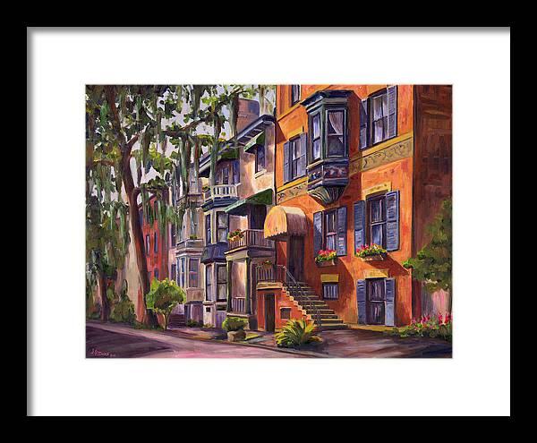 Savannah Framed Print featuring the painting Hull Street In Chippewa Square Savannah by Jeff Pittman