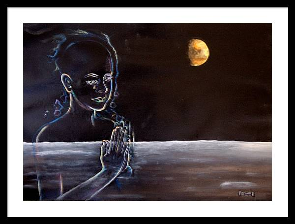 Moon Framed Print featuring the painting Human Spirit Moonscape by Susan Moore