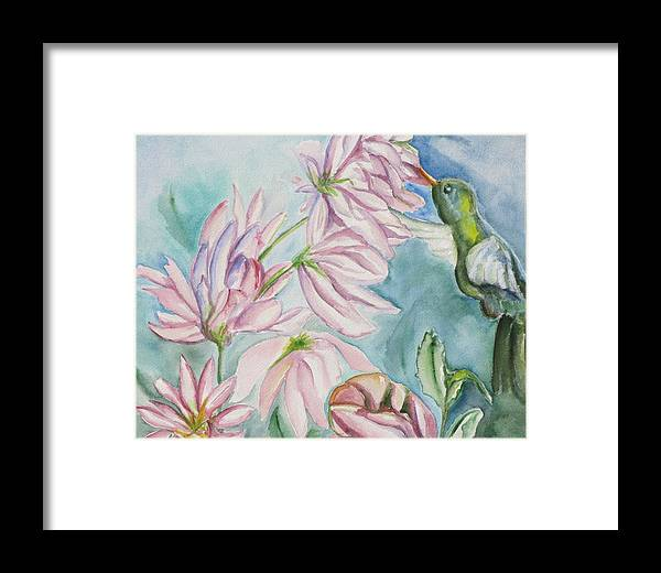 Nature Framed Print featuring the painting Humming Bird by Kathy Mitchell