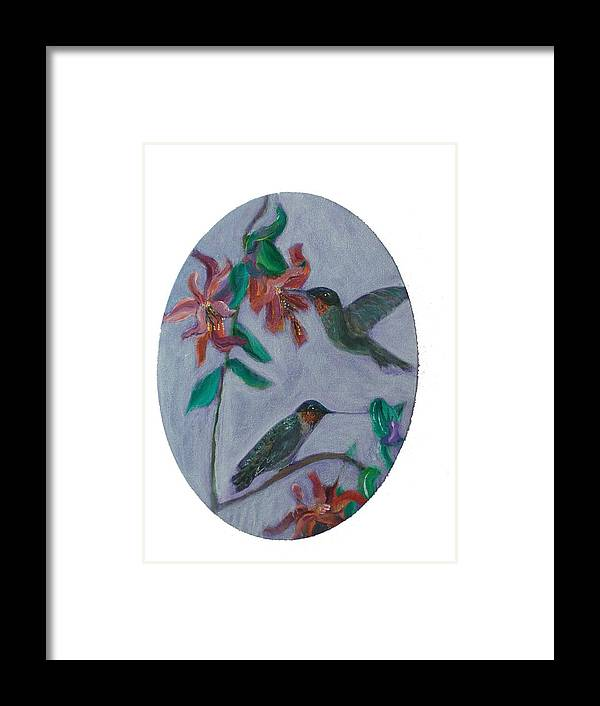 Humming Birds Framed Print featuring the painting Humming Birds by Mikki Alhart