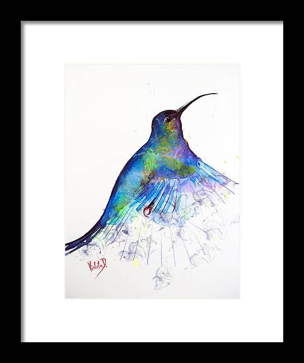 Hummingbird Framed Print featuring the painting Hummingbird 11 by Violeta Damjanovic-Behrendt