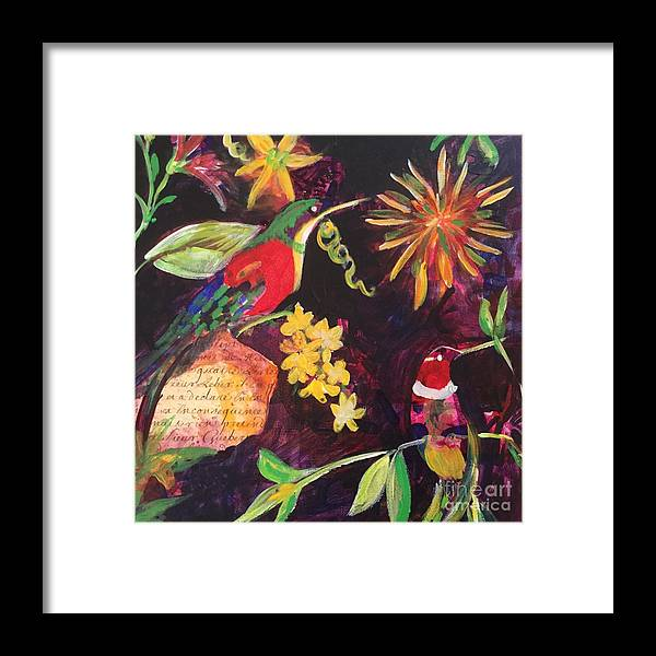 Hummingbird Framed Print featuring the painting Hummingbird Heaven by Penelope More