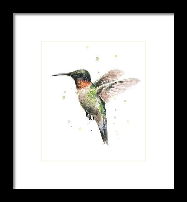 Animal Framed Print featuring the painting Hummingbird by Olga Shvartsur
