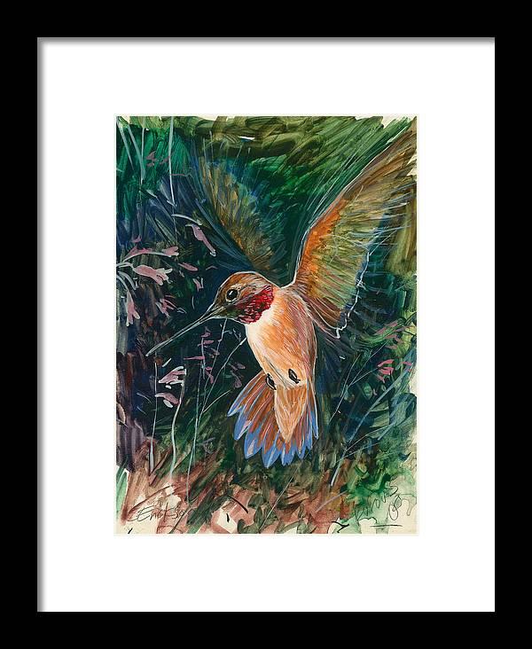 Hummingbird Framed Print featuring the painting Hummingbird by Shari Erickson