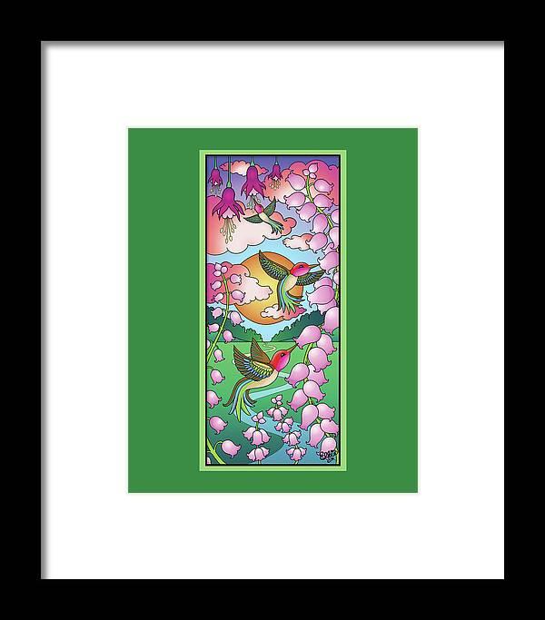 Hummingbirds Framed Print featuring the digital art Hummingbird Sunrise by Eleanor Hofer