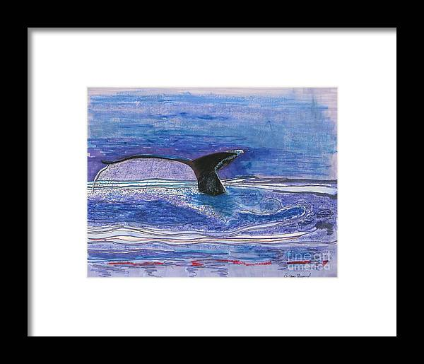 Humpback From Hawaii Framed Print featuring the mixed media Humpback Hello by James SheppardIII