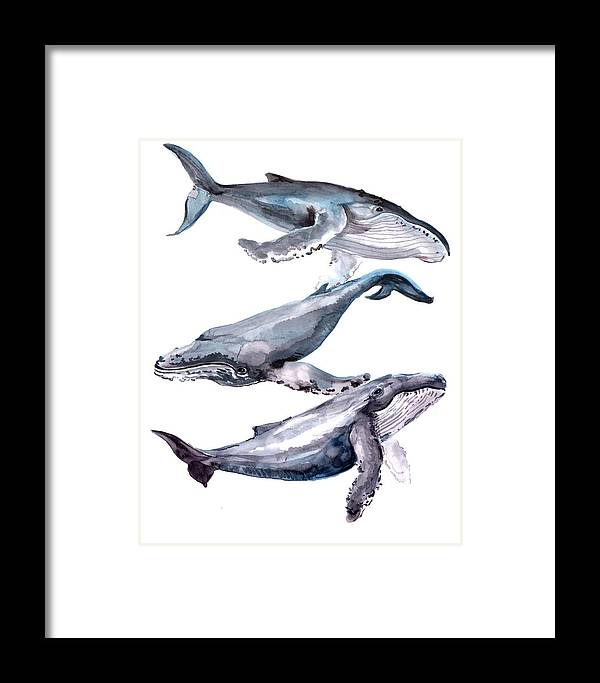 Humpback Whale Framed Print featuring the painting Humpback Whales by Suren Nersisyan