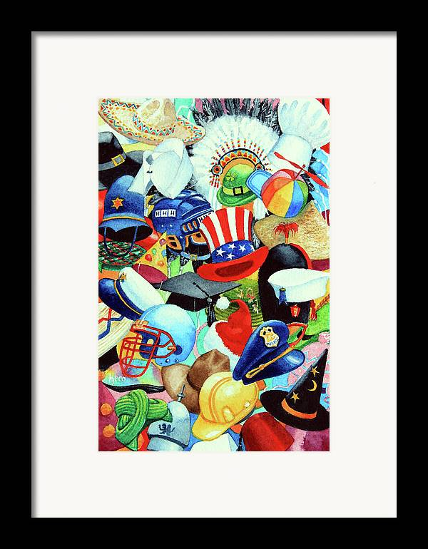Hundreds Of Hats Art Print Framed Print featuring the painting Hundreds Of Hats by Hanne Lore Koehler