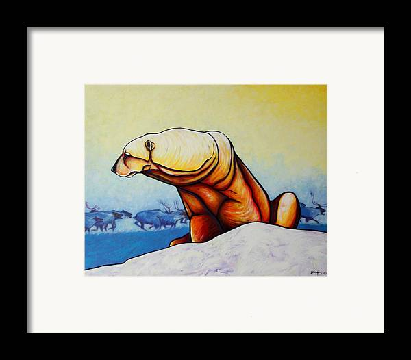 Wildlife Framed Print featuring the painting Hunger Burns - Polar Bear And Caribou by Joe Triano