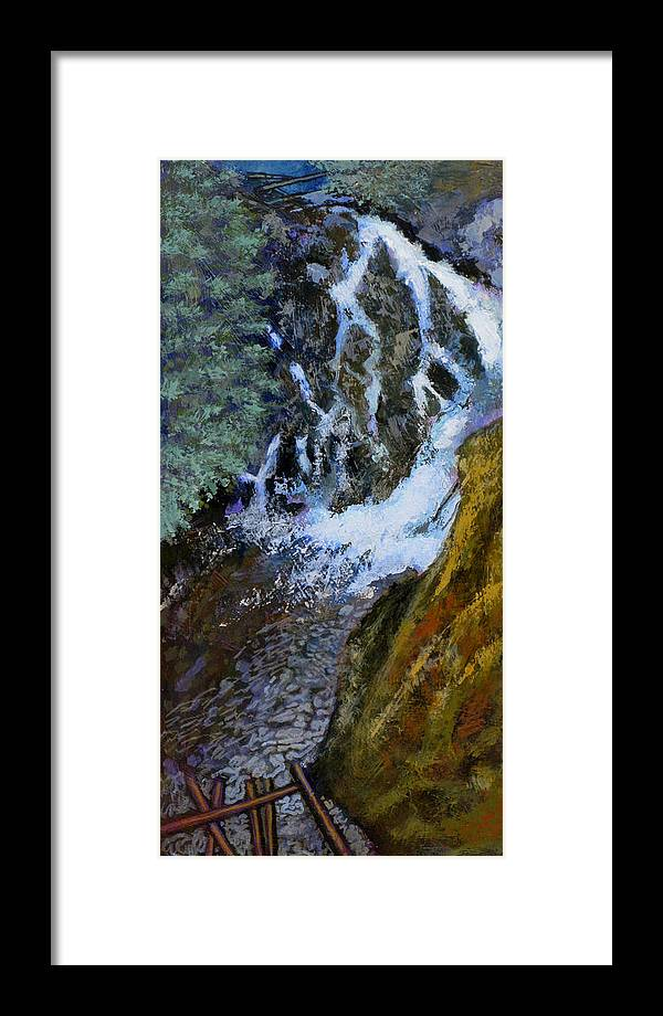 Falls Framed Print featuring the painting Hunt Falls by Robert Bissett