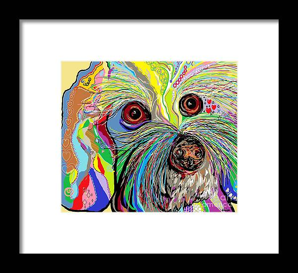 Bichon Framed Print featuring the painting Hunter The Bichon . . . He's A Shoe Man by Eloise Schneider Mote