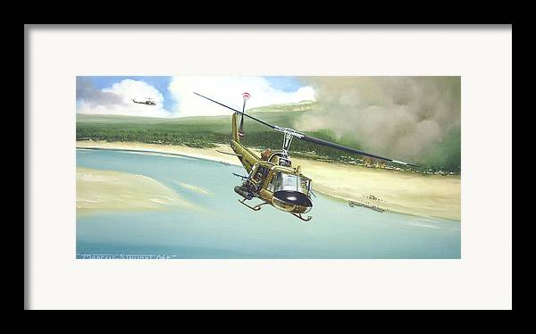 Military Framed Print featuring the painting Hunter Hueys by Marc Stewart