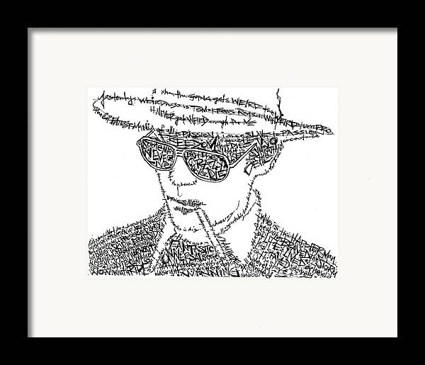 Hunter Thompson Framed Print featuring the drawing Hunter S. Thompson Black And White Word Portrait by Kato Smock