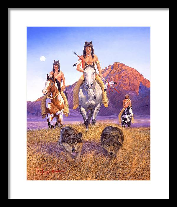 Indian Art Framed Print featuring the painting Hunters Of The Full Moon by Howard Dubois