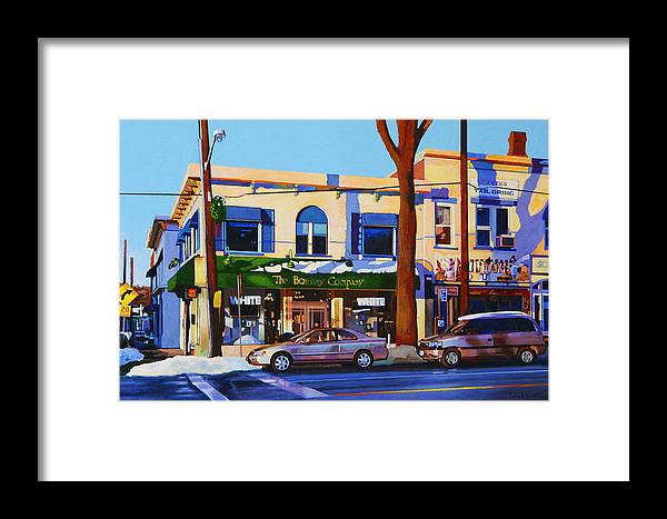 Huntington Framed Print featuring the painting Huntington Village by John Tartaglione