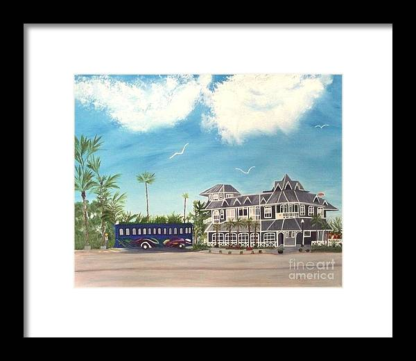 Florida Painting Framed Print featuring the painting Hurricane Restaurant Pass A Grill Florida by Peggy Holcroft