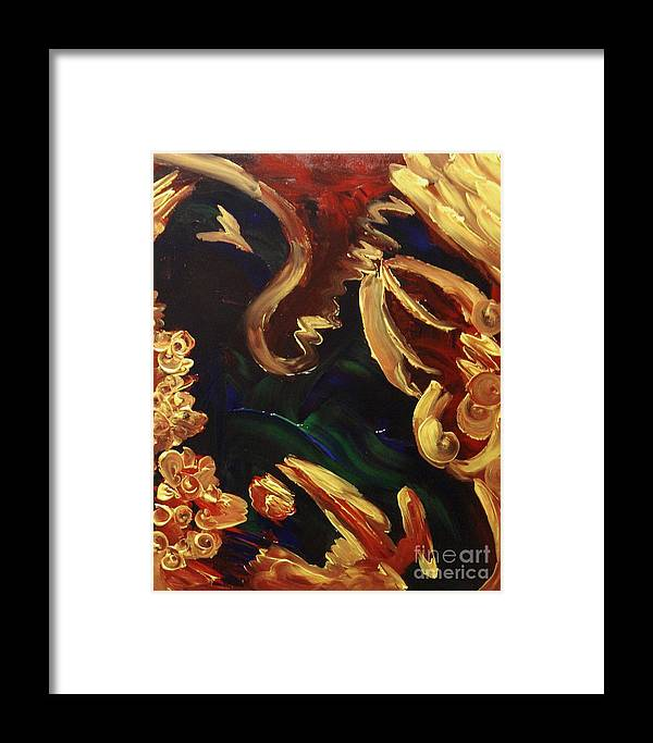Abstract Framed Print featuring the painting Hurt Hug by Karen L Christophersen