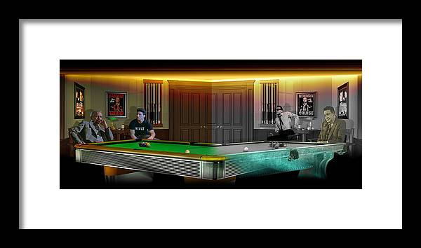 Pool Framed Print featuring the digital art Hustlers Of Color by Draw Shots