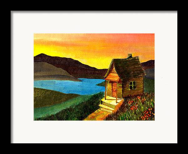 Acrylic Painting Framed Print featuring the painting Hut On Lake by Jennifer McDuffie
