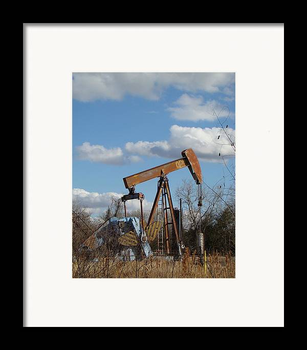 Landscape Framed Print featuring the photograph Hwy 71 Oil Well by Ana Villaronga