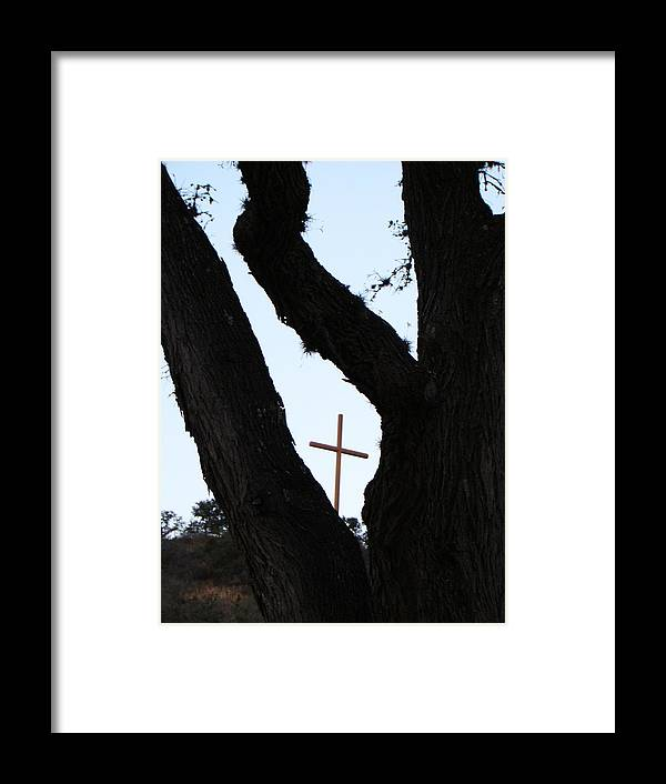Cross Framed Print featuring the photograph Hwy 87 Cross One by Ana Villaronga