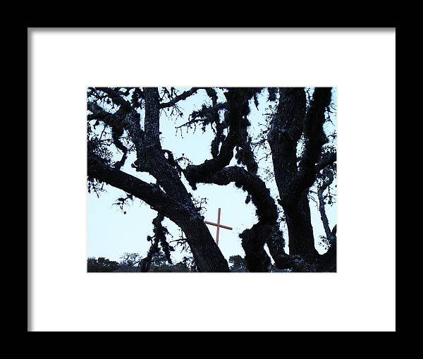 Cross Framed Print featuring the photograph Hwy 87 Cross Two by Ana Villaronga