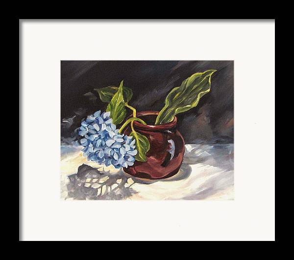 Still Life Framed Print featuring the painting Hydrangea In A Bean Pot by Cheryl Pass