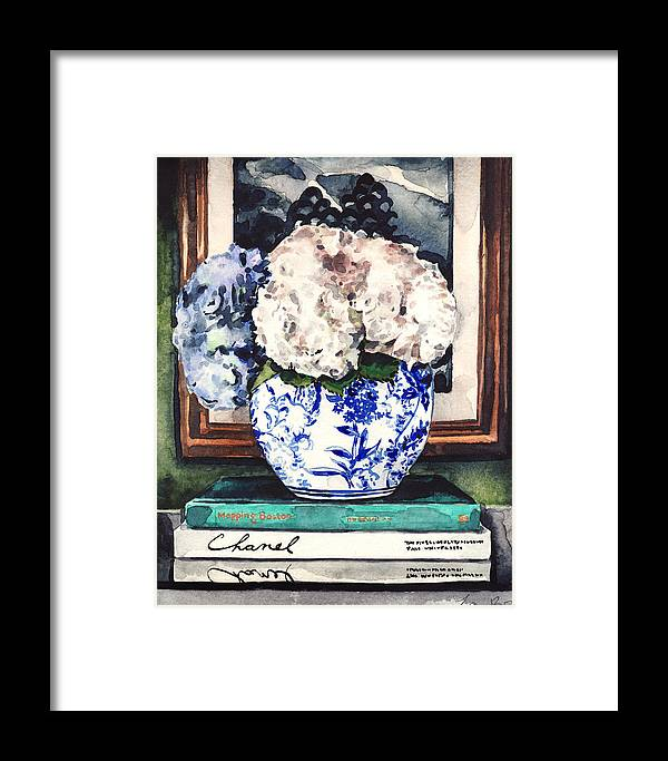 0b6dc1f11c1 Blue And White Framed Print featuring the painting Hydrangeas In Blue And White  Chinoiserie Melon Vase