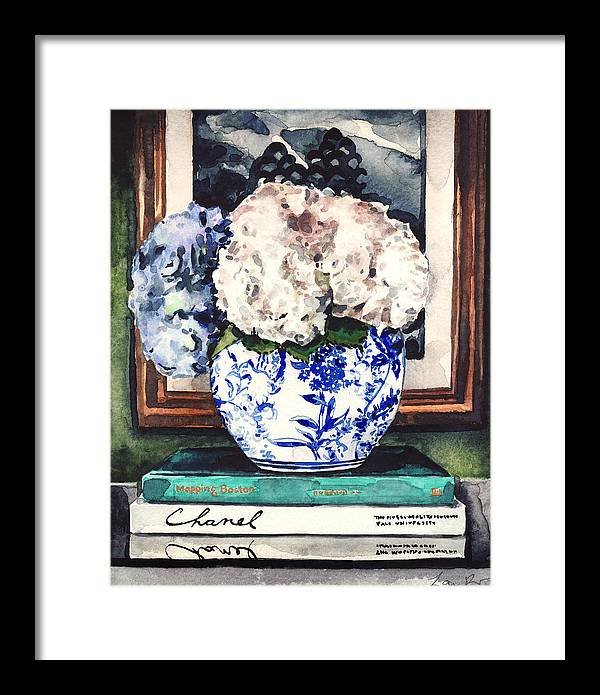 Hydrangeas in Blue and White Chinoiserie Melon Vase with Books by Laura Row