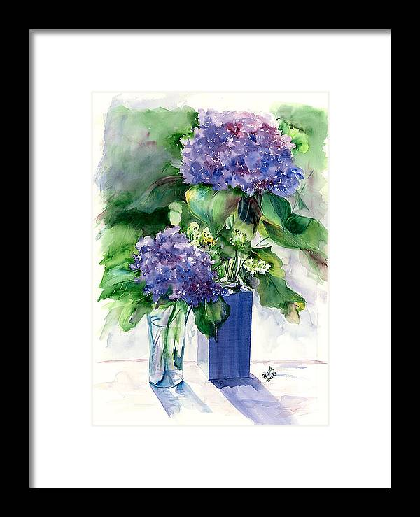 Flower Framed Print featuring the painting Hydrangeas In Vases by Priscilla Powers
