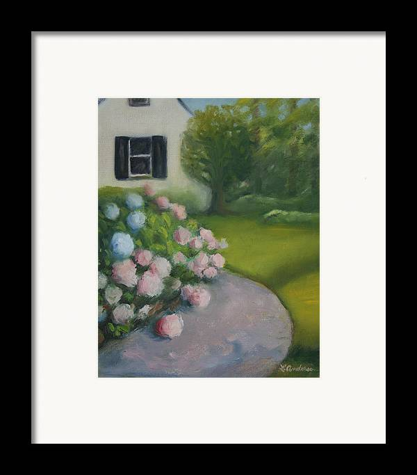 Original Oil Painting Framed Print featuring the painting Hydrangeas by Linda Anderson