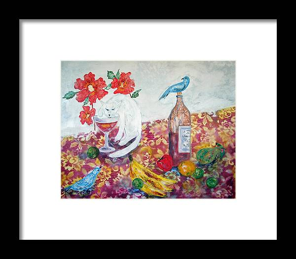 Still Life With Cat And Birds Framed Print featuring the painting I Always Said He Drinks Like A Fish by Sarah Wharton White