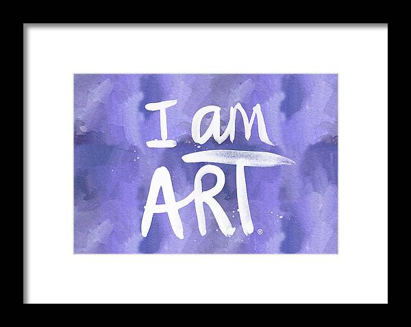 I Am Art Framed Print featuring the painting I Am Art Painted Blue And White- By Linda Woods by Linda Woods