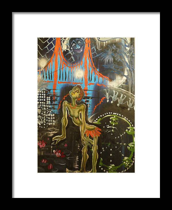 Transrealist Framed Print featuring the painting I Am Dancing At The Birthday Celebration Of Civilization by Zsuzsa Sedah Mathe