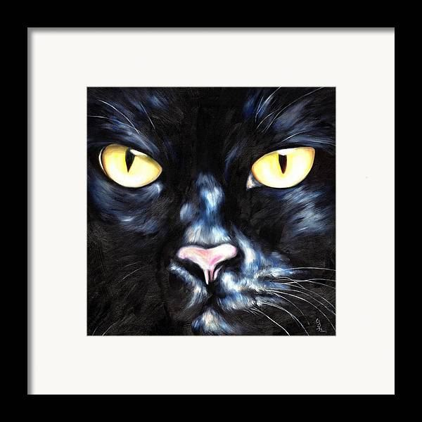 Black Cat Framed Print featuring the painting I Am Night by Hiroko Sakai