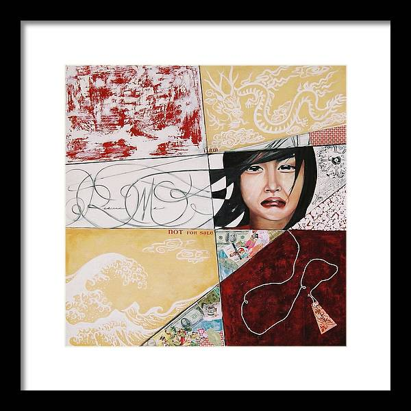 Asian Girl Framed Print featuring the painting I Am Not A Tourist Attraction by Teresa Carter