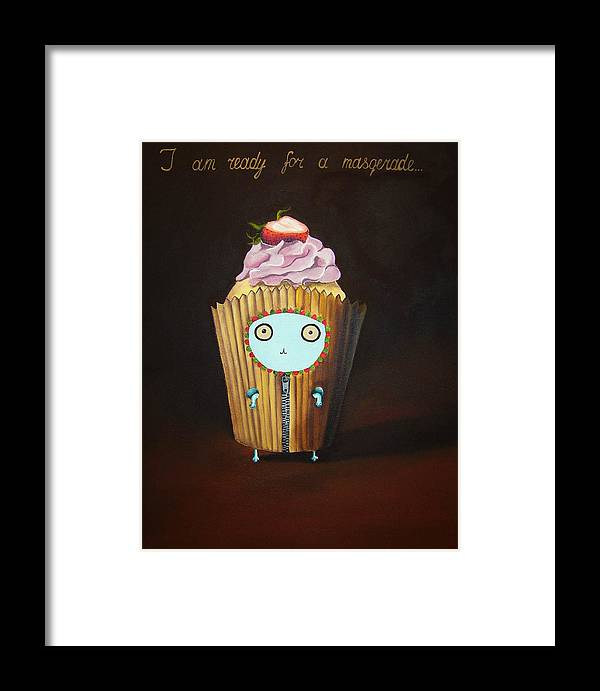Bunny Framed Print featuring the painting I Am Ready For A Masquerade by Anastassia Neislotova