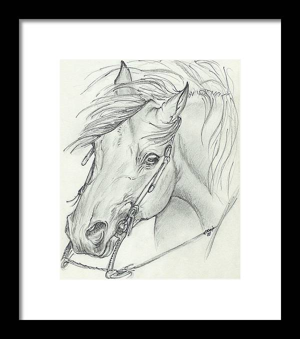 Pencil Framed Print featuring the drawing I Am Ready by Lilly King