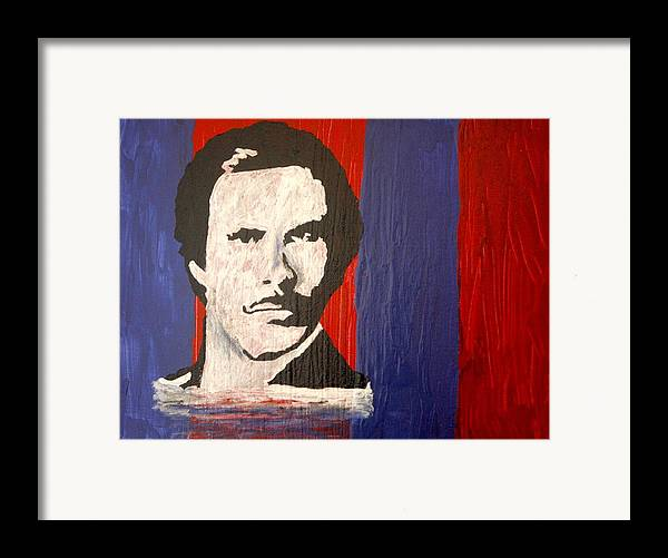 Abstract Framed Print featuring the painting I Am Ron Burgundy by April Harker
