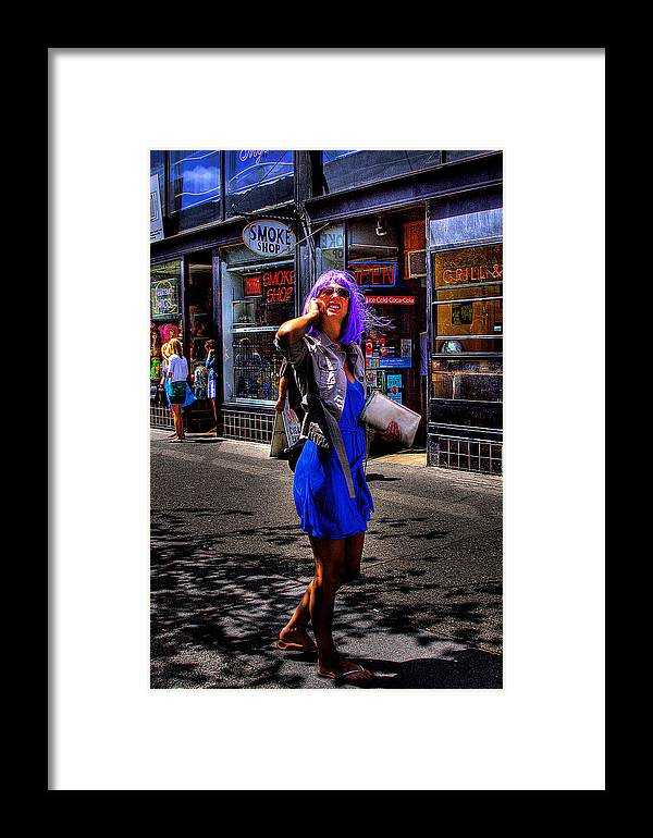 Woman. Purple Hair Framed Print featuring the photograph I Am The One With The White Purse by David Patterson