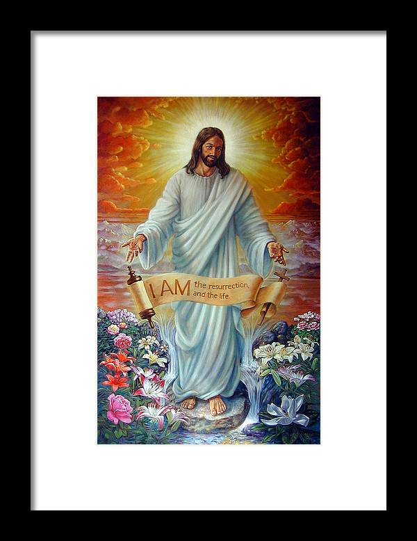 Jesus Christ Framed Print featuring the painting I Am The Resurrection by John Lautermilch