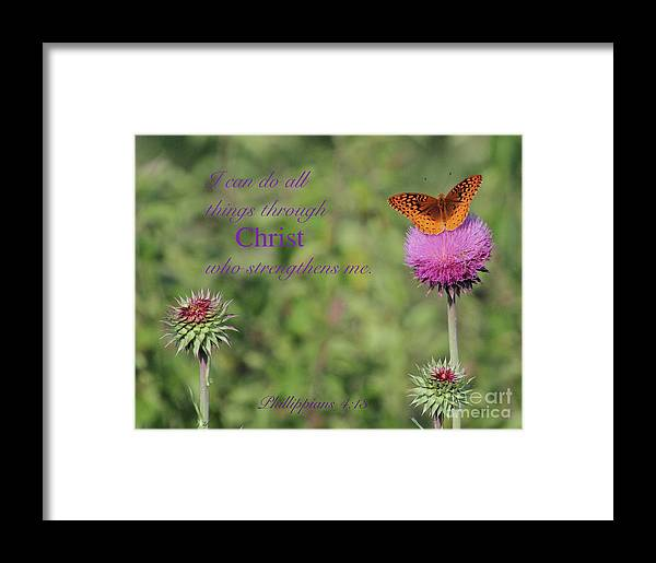 Scripture Verse Framed Print featuring the photograph I Can Do All Things Trough Christ by Robin Erisman