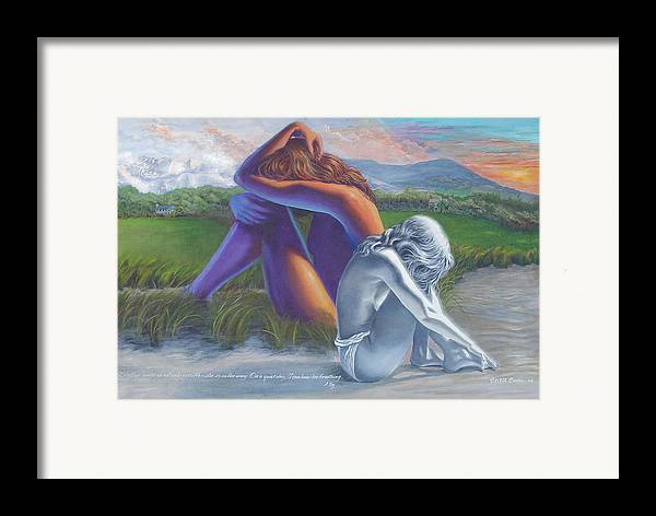 Figure Framed Print featuring the painting I Can Hear Her Breathing by JoAnne Castelli-Castor