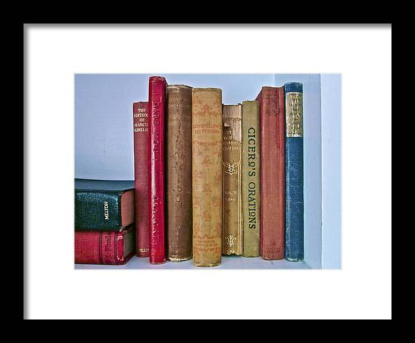 Photograph Of Books Framed Print featuring the photograph I Dare You Et Al. by Gwyn Newcombe
