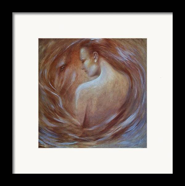 Woman Framed Print featuring the painting I Dream Of Horses by Elizabeth Silk