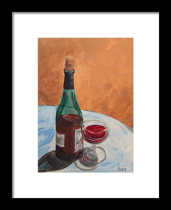 Still Life Framed Print featuring the painting I Drink Alone by Pete Maier